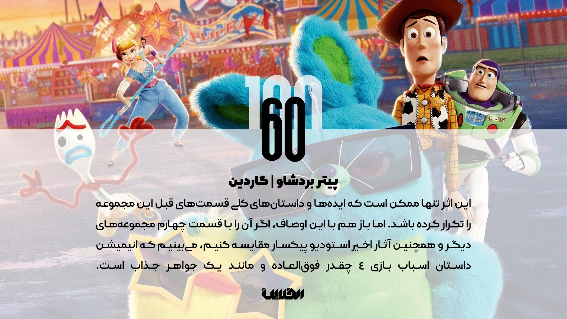 نظر منتقدان درباره انیمیشن داستان اسباب بازیهای 4 - پیتر بردشاو گاردین
